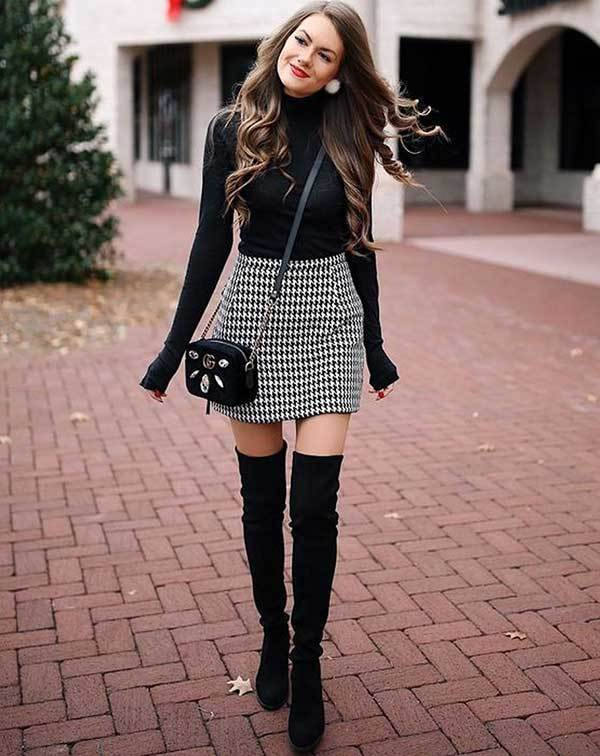 Casual Winter Skirt Outfits-19