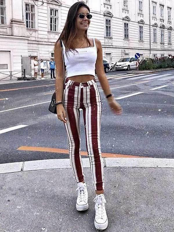 Casual Striped Pants Cute Spring Outfits-19