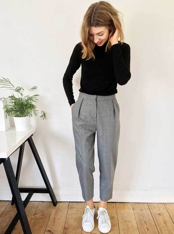 Cropped Trousers Work Outfit Ideas-20