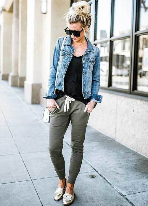 Denim Jacket and Jogger Pants Outfit Ideas-20
