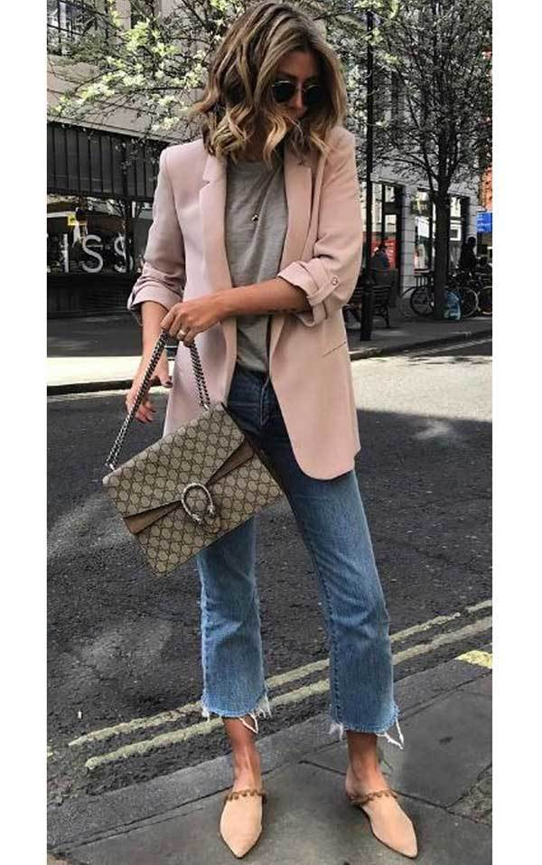 Casual Cropped Pants and Blazer Jacket Spring Outfits-21