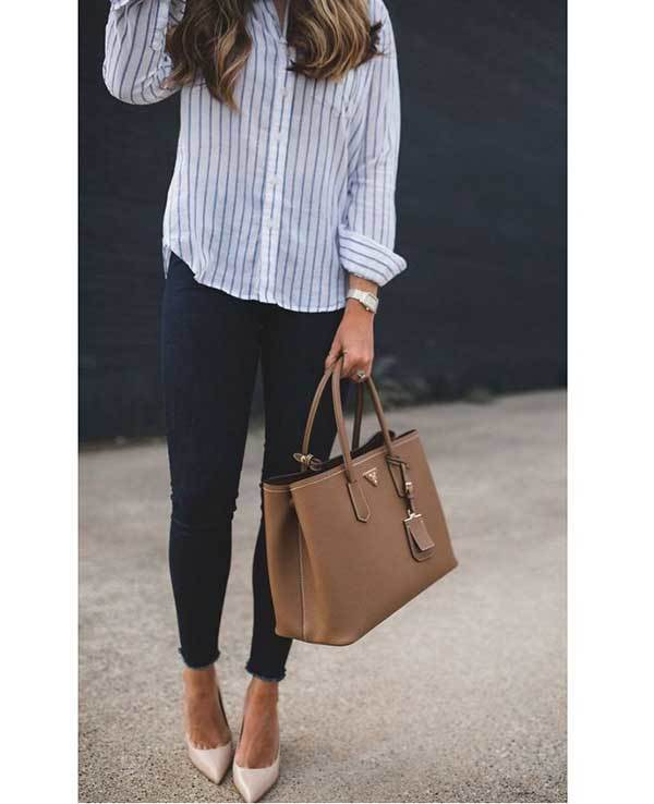 Striped Shirt Work Outfit Ideas-22