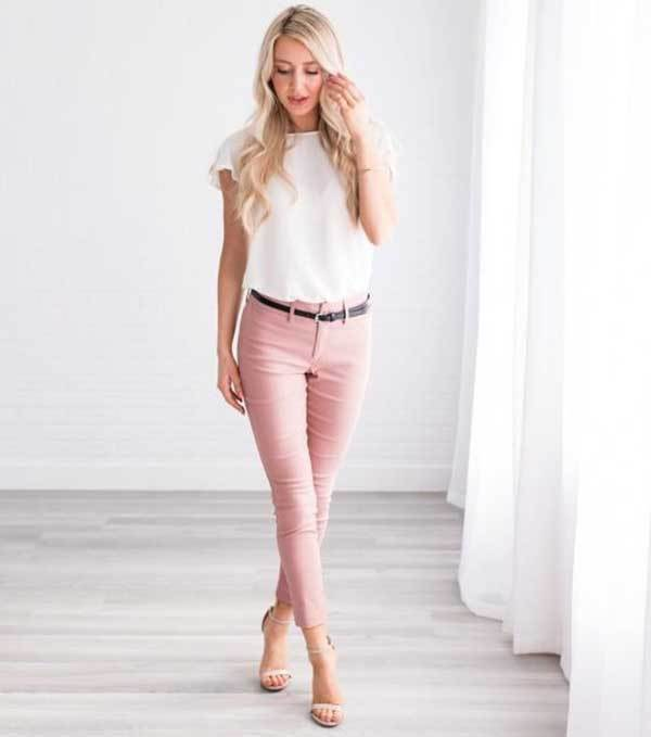 Pink Pants Work Outfit Ideas-25
