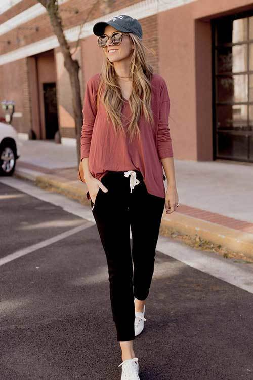 Women Jogger Pants Outfit Ideas-29