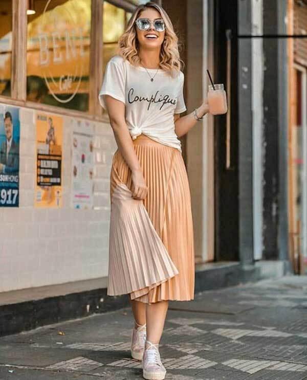 Midi Skirt Summer Outfits for Women-40