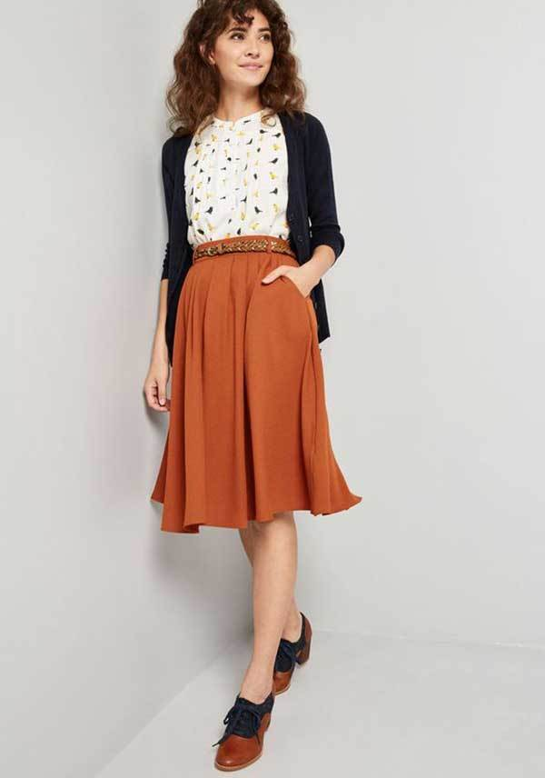 Orange Midi Skirt Outfit Ideas-6