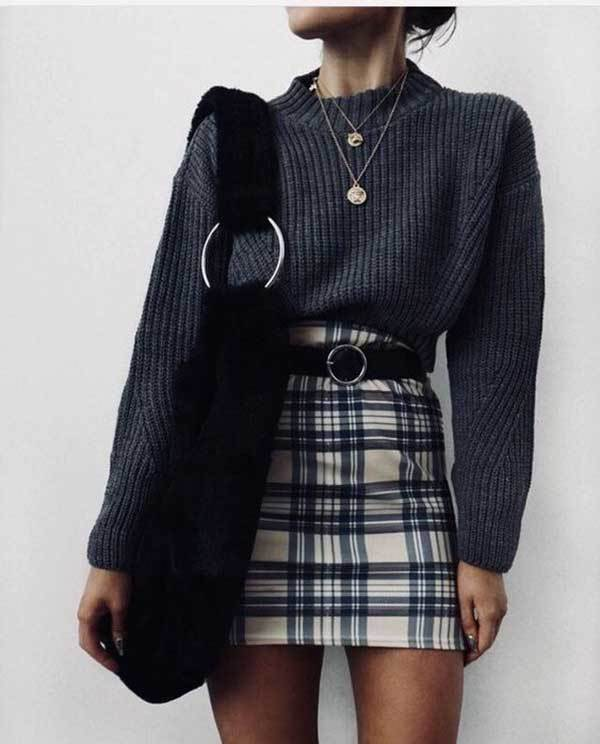 Winter Plaid Skirt Outfits-6