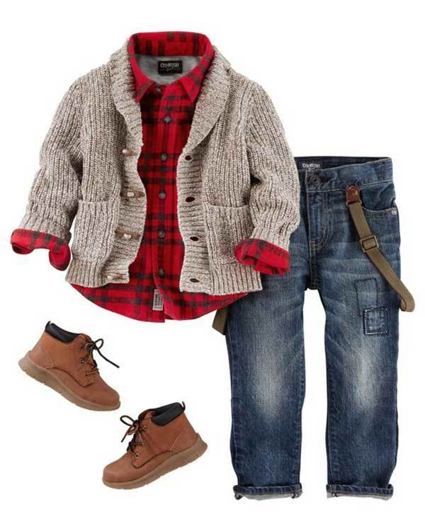 Toddler Boy Plaid Shirt Outfits-6