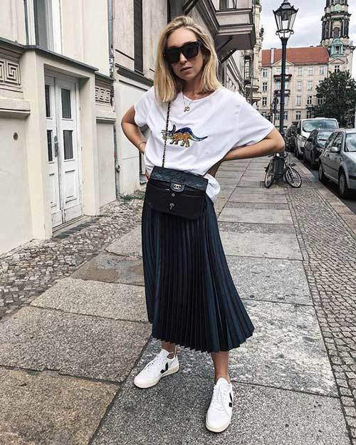 30 best and easy ways to wear pleated skirt outfit styles