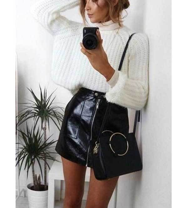 Winter Black Leather Skirt Outfits-8