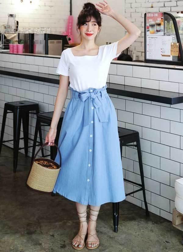 Cute Midi Skirt Outfits