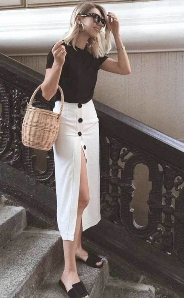 White Midi Skirt Outfit Ideas