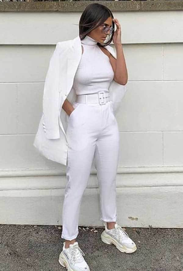 Casual All White Outfits with Sneakers