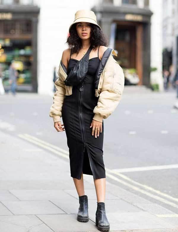 London Fashion Black Dress Street Style