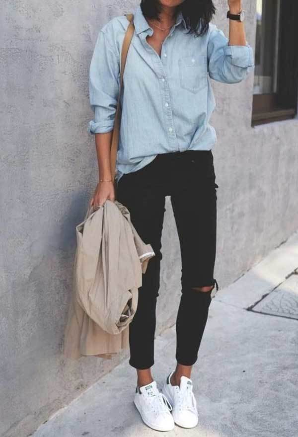 Casual Black Ripped Denim Outfits with Sneakers
