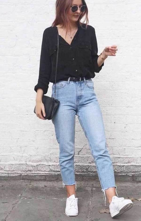 Casual Cute Shirts and Jeans Outfits with Sneakers