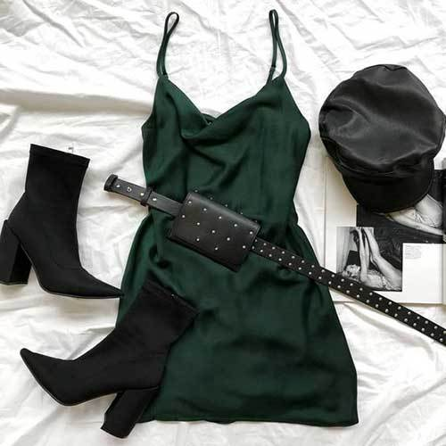Simple Dark Green Dress Night Out Outfits