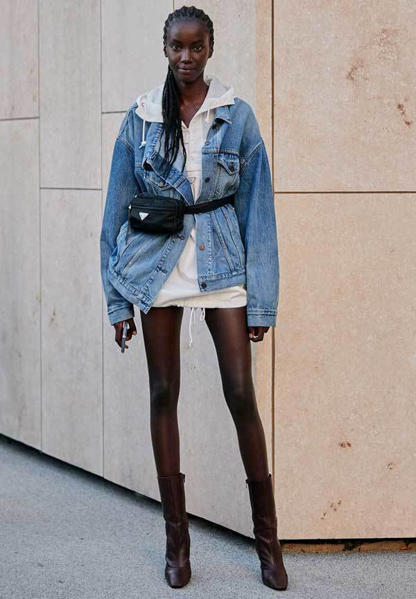 London Fashion Denim Jacket Street Style
