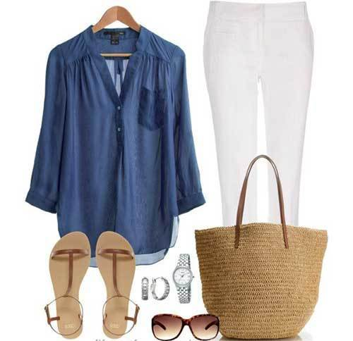 White Pants Summer Outfits for Women Over 50