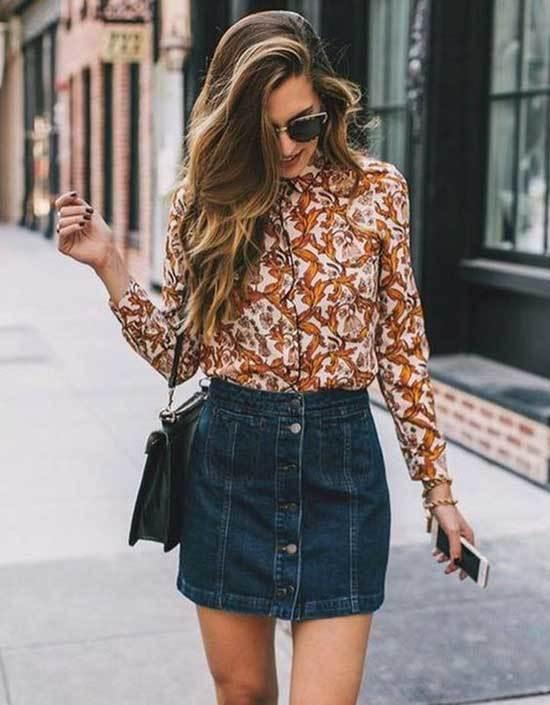 Cute Jean Skirt Shirt Outfits
