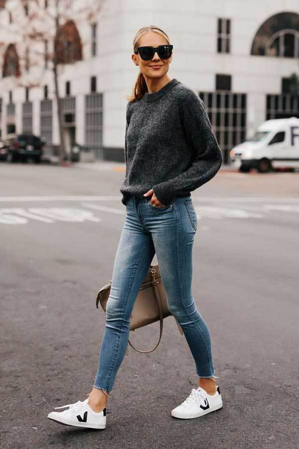 Casual Skinny Jeans Outfits with Sneakers