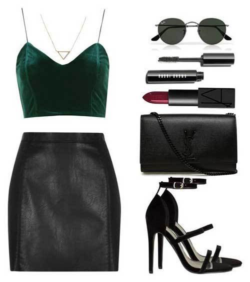 Simple Leather Skirt Night Out Outfits