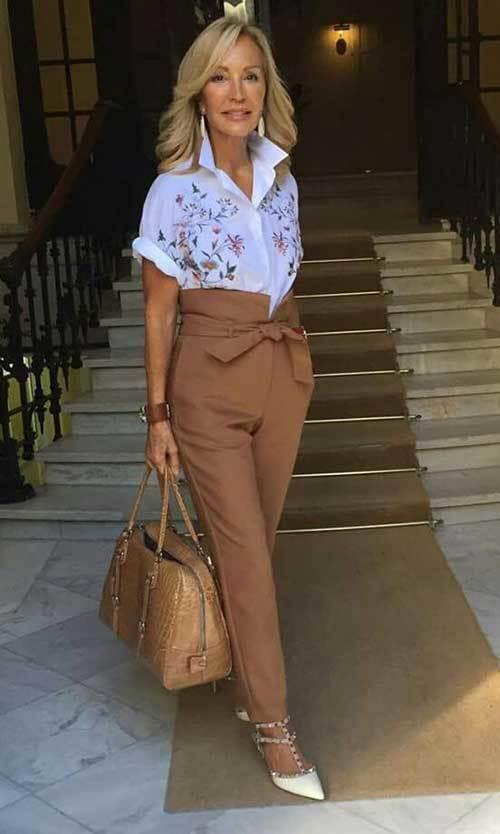 Summer High Waist Pants Outfits for Women Over 50