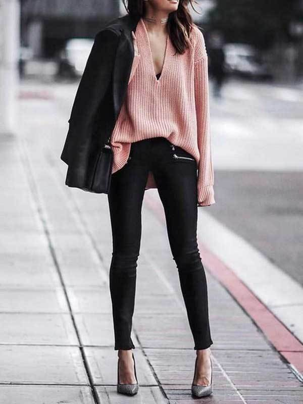 V-Neck Sweater London Street Style