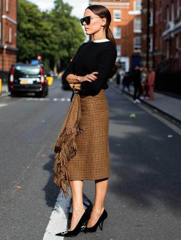 London Fashion Midi Skirt Street Style