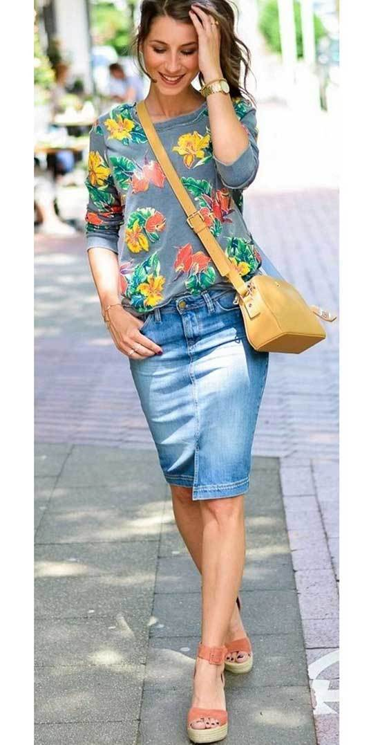 Cute Midi Jean Skirt Outfits