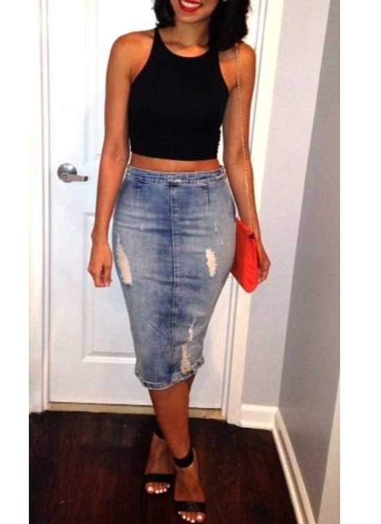 Cute Medium Jean Skirt Outfits