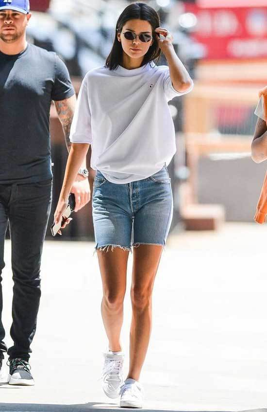 T-Shirt and Cut off Jean Shorts-16