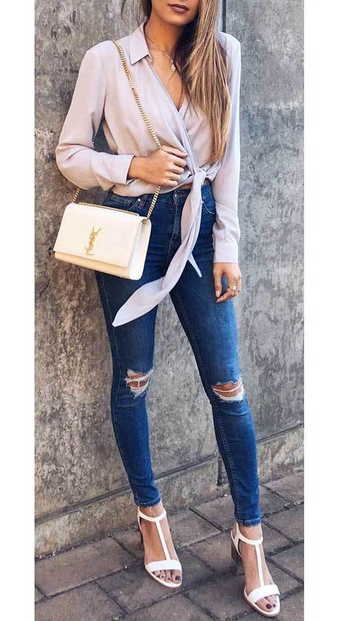 Simple Blue Jeans Night Out Outfits