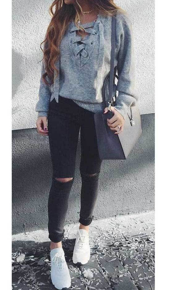 Black Jeans Fall Outfits for Women