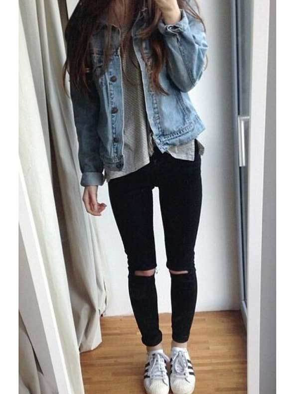Casual Ripped Denim Outfits with Sneakers