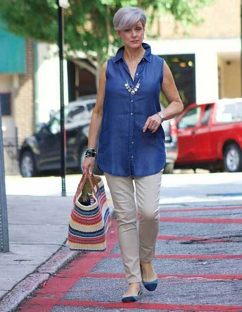 Summer Shirt Outfits for Women Over 50
