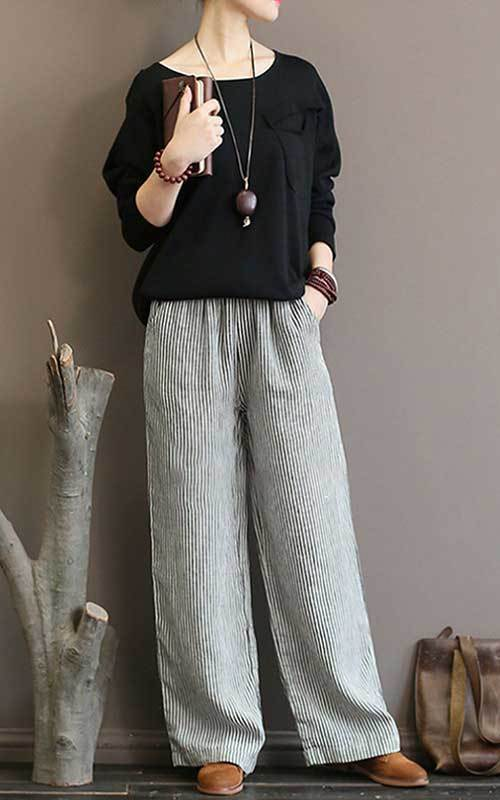 Summer Linen Pants Outfits for Women Over 50