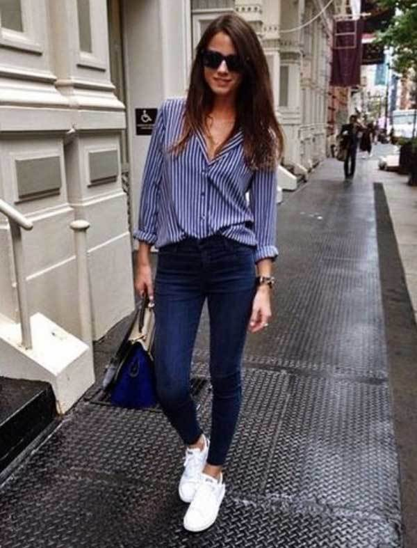 Casual Striped Shirt Outfits with Sneakers