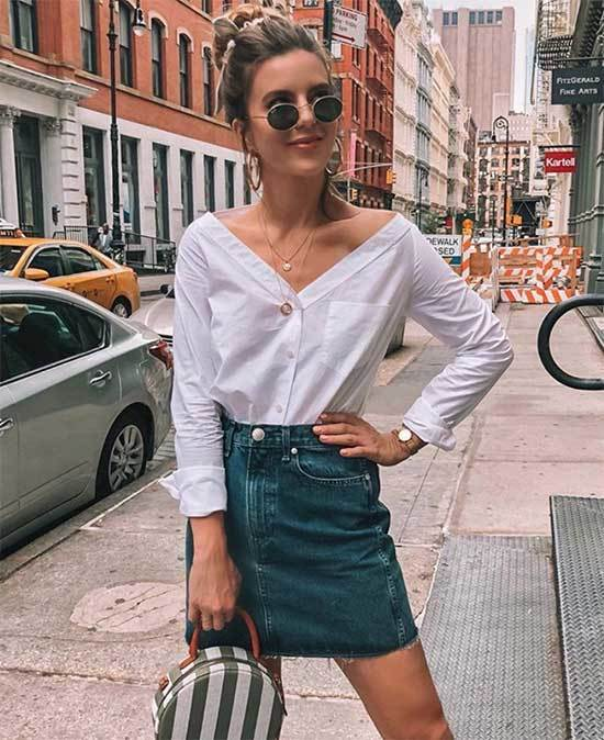 Cute Summer Jean Skirt Outfits