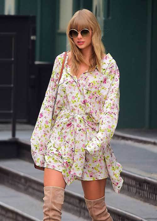 Taylor Swift Cute Floral Dress Outfits