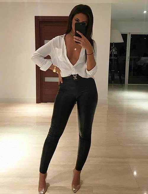 Simple Leather Pants Night Out Outfits