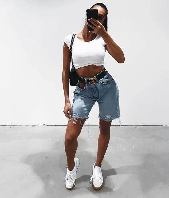 Womens Crop Top and Cut off Jean Shorts