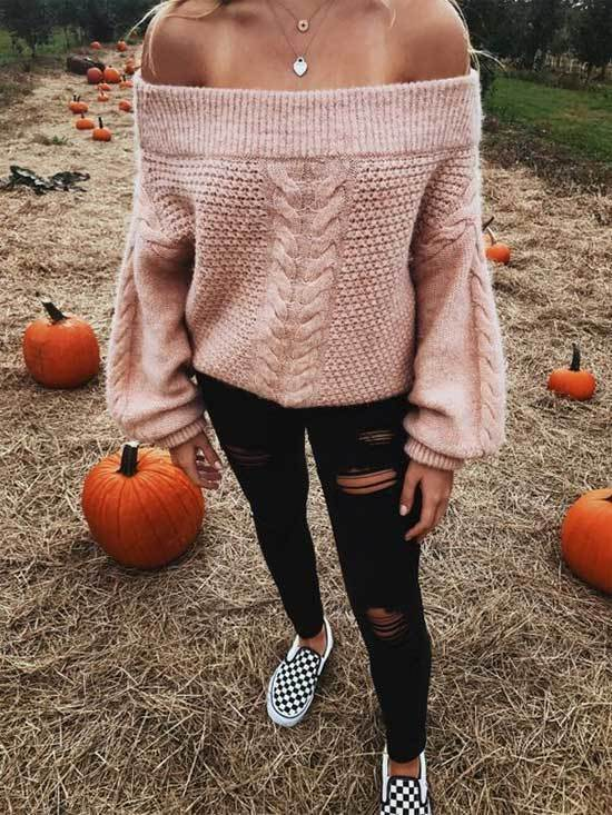 off Shoulder Sweater Fall Outfits for Women