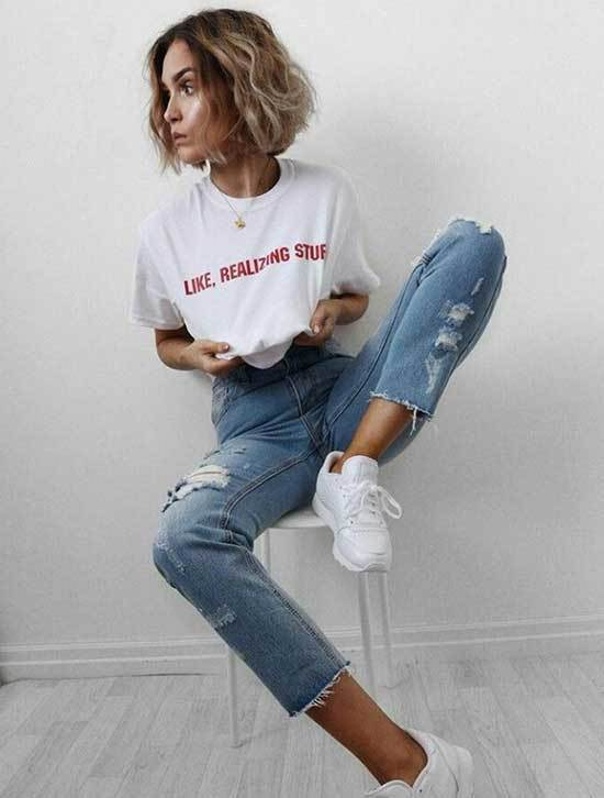Cute Outfits with Ripped Blue Jeans-8