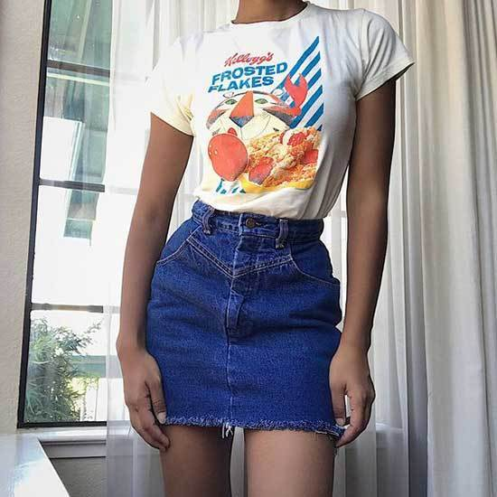 Cute 90's Fashion Outfits with High Waisted Jean Skirts