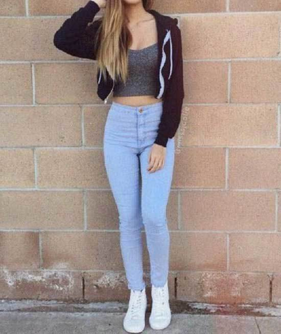 Cute Back To School Outfits with Blue Jeans