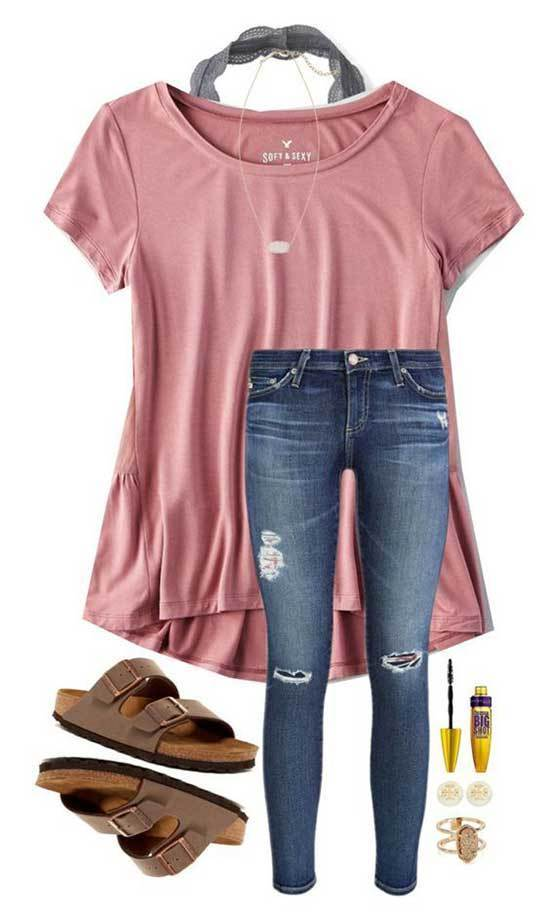 Simple T-Shirt Outfits for School