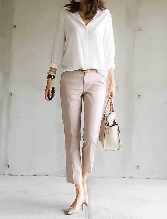Simple Office Beige Shoes Outfits