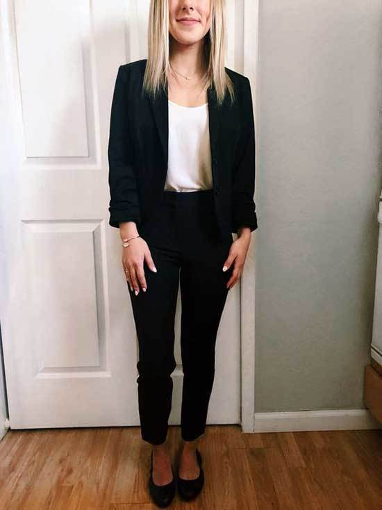 Simple Office Blazer and White Top Outfits