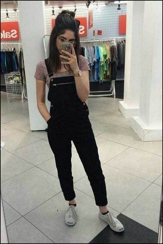 Black Overall Outfits for School